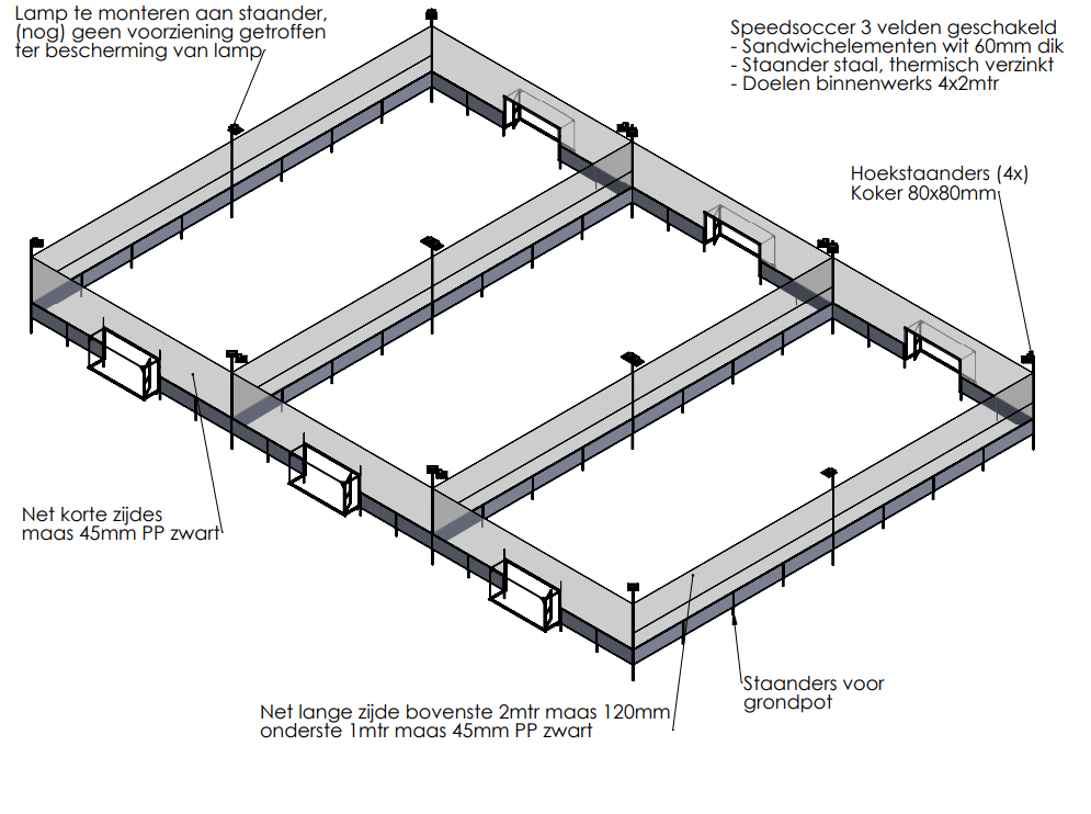 Werktekening Speedsoccer court Unipanel 40mm
